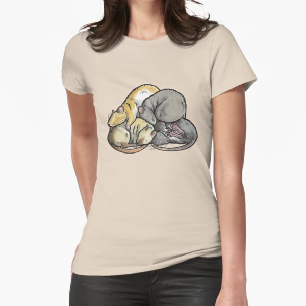 Sleeping Pile of Pet Rats Fitted T-Shirt