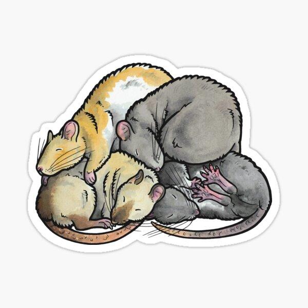 Sleeping Pile of Pet Rats Sticker