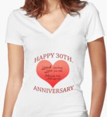 30th. Anniversary Women's Fitted V-Neck T-Shirt