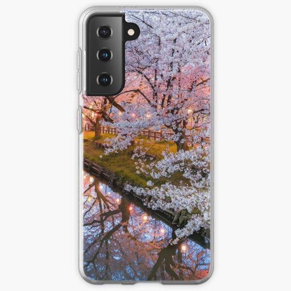 Kirschblütenfluss im japanischen Telefonkasten Samsung Galaxy Flexible Hülle