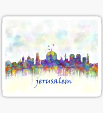 jerusalem city skyline watercolor print Sticker