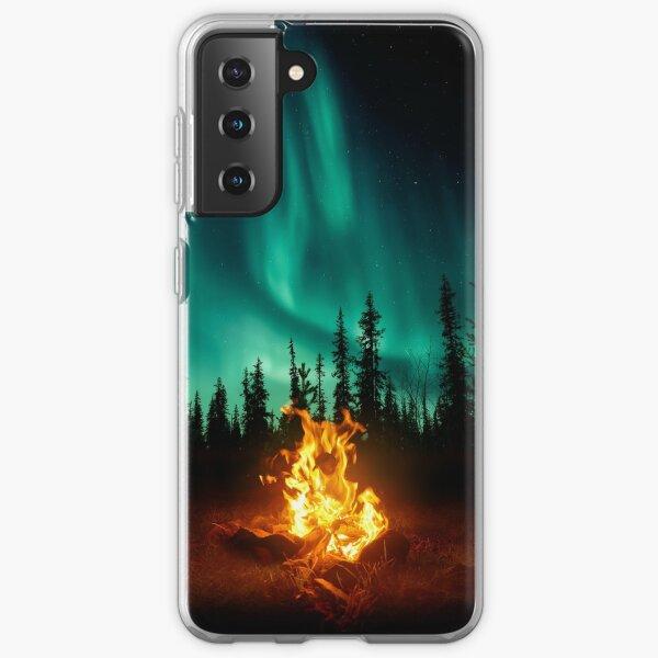Telefonkoffer für Lagerfeuer am Nordlicht Samsung Galaxy Flexible Hülle