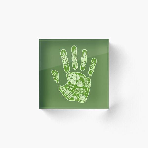 Leafy Handprint. Green. Acrylic Block