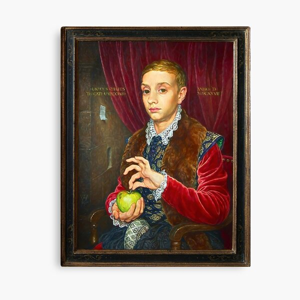Boy With Apple Painting with painted frame Canvas Print
