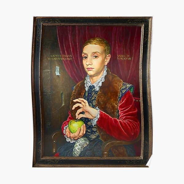 Boy With Apple Painting with painted frame Poster