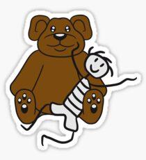 boy cuddling stuffed animal sitting cute little teddy thick sweet cuddly comic cartoon Sticker