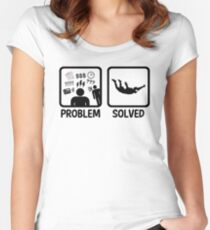 Funny Skydiving Problem Solved Women's Fitted Scoop T-Shirt