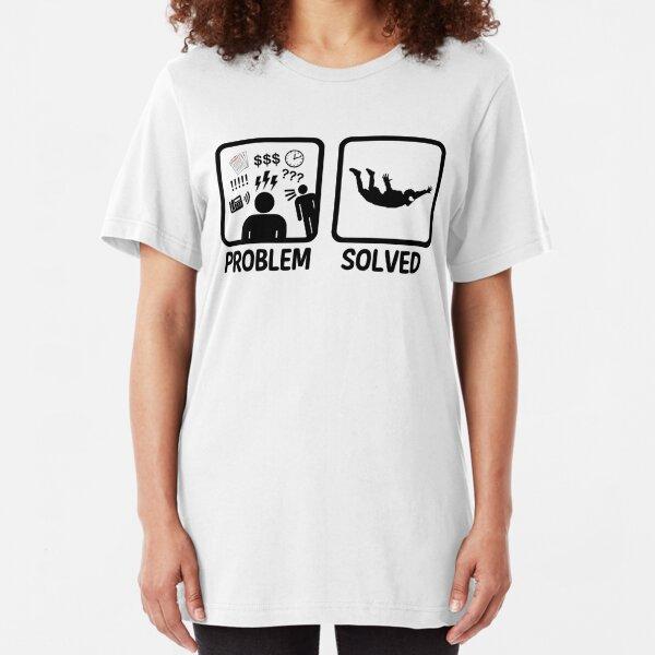 Funny Skydiving Problem Solved Slim Fit T-Shirt