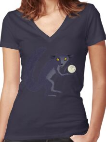 Aye Aye Steals the Moon Women's Fitted V-Neck T-Shirt