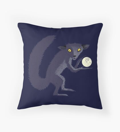 Aye Aye Steals the Moon Throw Pillow