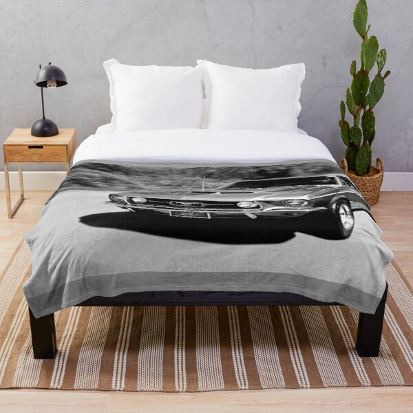 1967 Ford Mustang B/W  Throw Blanket