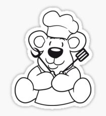 grillmeister cuisines chef chef hat cook barbecue restaurant cook delicious food sweet little cute teddy bear sitting funny dick Sticker