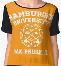 Hamburger University in White Chiffon Top