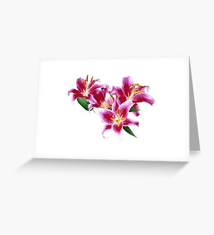 Stargazer Lily Heart Greeting Card