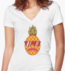 Fresh Pineapple Women's Fitted V-Neck T-Shirt