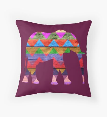 Elephant Chevron Pattern on Wood #2 Throw Pillow