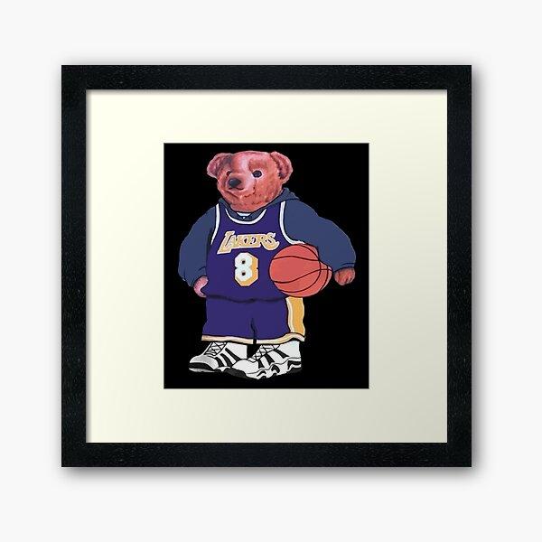 Baller Bear Ralph Lauren Vintage NBA Kobe Bryant des années 1990 Polo Bear des années 90 Los Angeles Lakers Impression encadrée