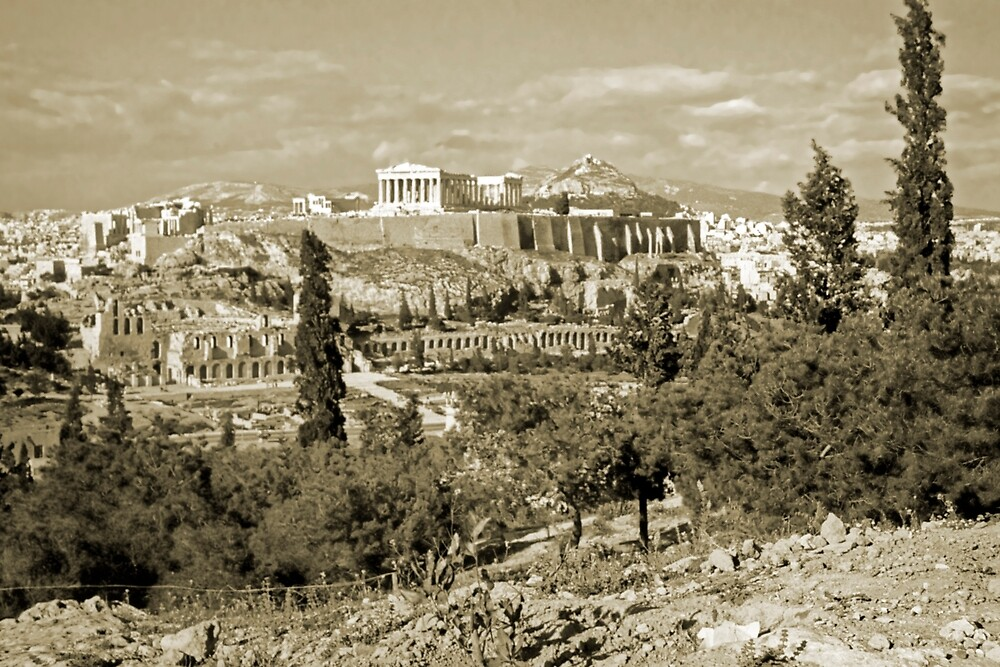 Athenian Acropolis from Philopappou Hill, 1960, Gold-toned by Priscilla Turner