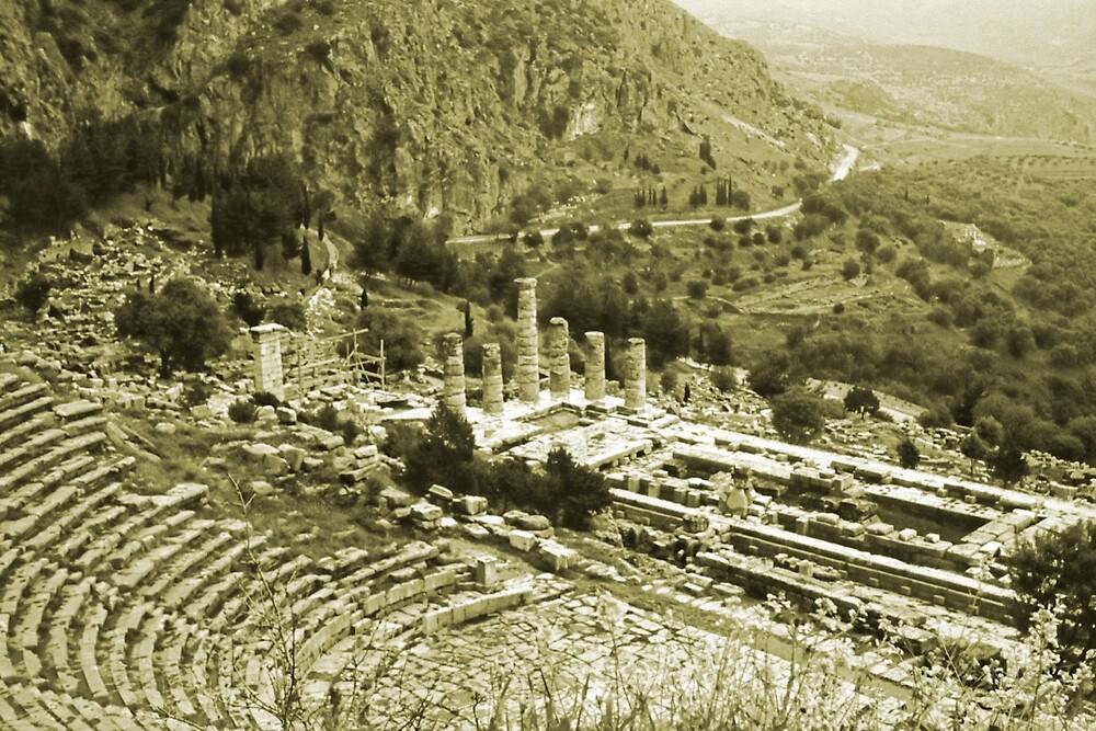 Temple of Apollo and Theatre, Delphi 1960, Yellow-toned by Priscilla Turner
