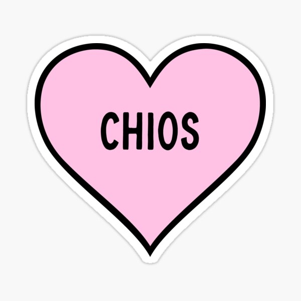 I Love Chios Cute Light Pink Heart Shape Chios City Lover Valentine Gift Sticker