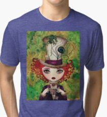 Lady Hatter (w/background) Tri-blend T-Shirt