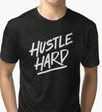 Hustle Hard - White Tri-blend T-Shirt