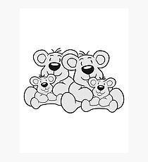 siblings twins pair couple love papa 2 children, baby boy, mummy family sweet little cute polar teddy bear sitting Photographic Print