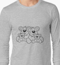 siblings twins pair couple love papa 2 children, baby boy, mummy family sweet little cute polar teddy bear sitting Long Sleeve T-Shirt