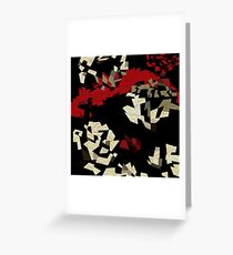 Black Red Cream Textured Abstract  Greeting Card