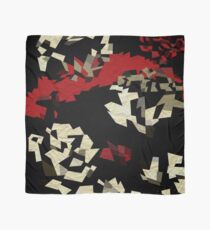 Black Red Cream Textured Abstract  Scarf