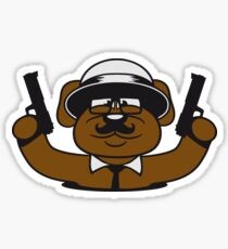 gangster mafia gangster guns loch floor ties hat hornbrille mustache nasty thug shoot bear raiders thief raid teddy Sticker