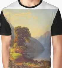 George Caleb Bingham - A View Of A Lake In The Mountains - American Landscape Graphic T-Shirt