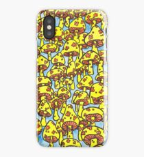 retro yellow mushrooms iPhone Case/Skin