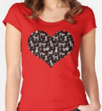Teacher's Pet - chalkboard cat pattern Women's Fitted Scoop T-Shirt