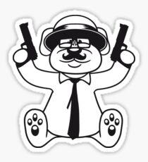 gangster mafia gangster guns ties hat hornbrille mustache nasty thug shoot robber thief raid teddy bear Sticker
