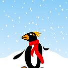Marconi Penguin with Red Scarf by elledeegee