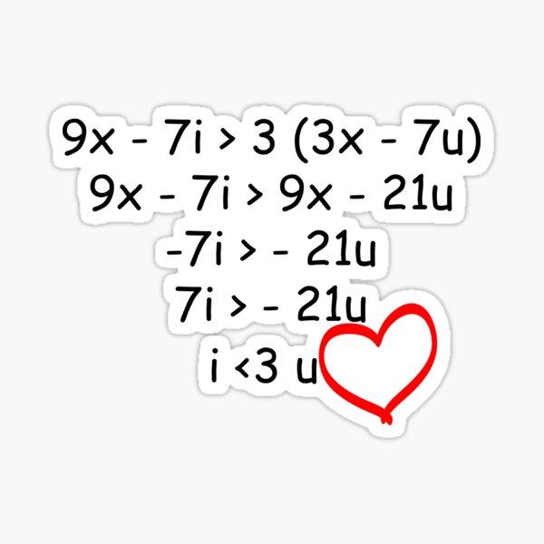 I Love You Math Problem Sticker