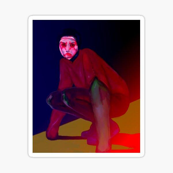 Sad Mask   Sci-Fi, Cyber Punk, Dark Art, Portrait, Woman  Sticker