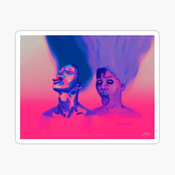Tongues Out   Powerful Women, Pink, Purple, Surreal, Low Brow Digital Painting  Sticker