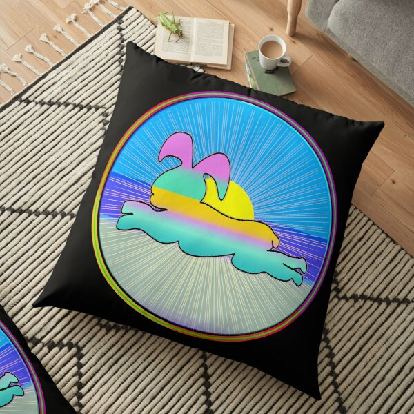 A FUNNY AND SUNNY RABBIT PRACTICING YOGA AND INSPIRING . Floor Pillow