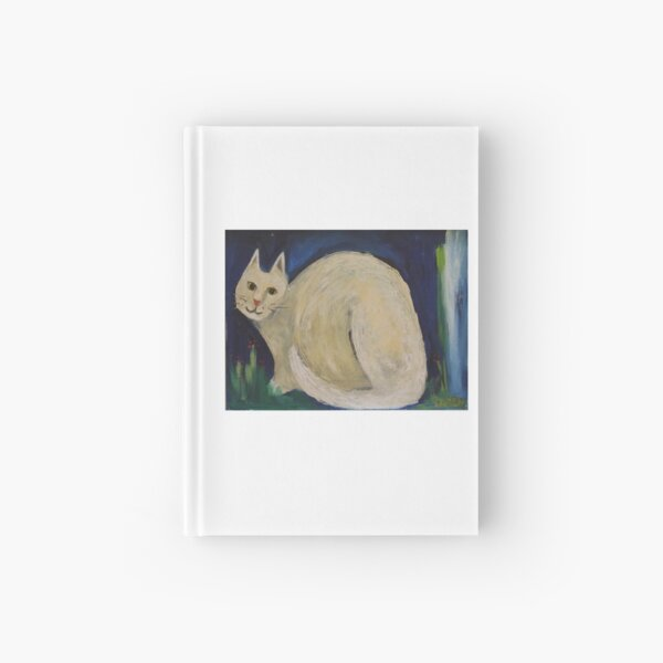 White Cat in a Midnight Garden Hardcover Journal