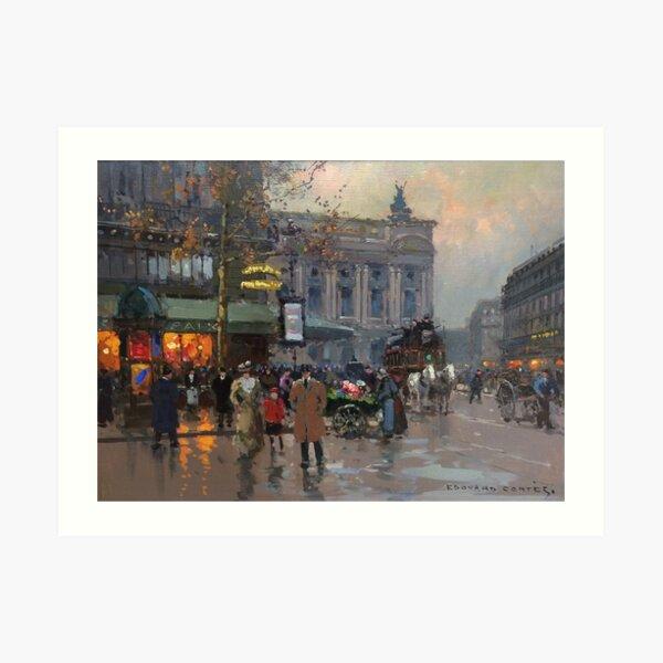 EDOUARD LEON CORTES () Cafe de la Paix c. Paris Art Print