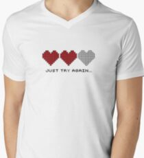 8bit Hearts - Just try again Men's V-Neck T-Shirt