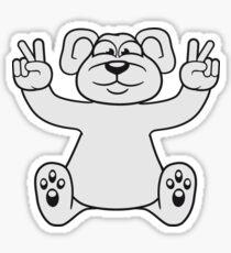 polar bear peace sign victory funny sitting cute little thicker teddy bear cute cuddly comic cartoon Sticker