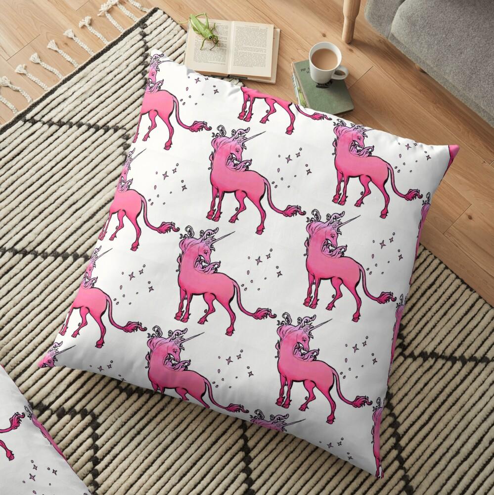 pink gradient The Last Unicorn Floor Pillow