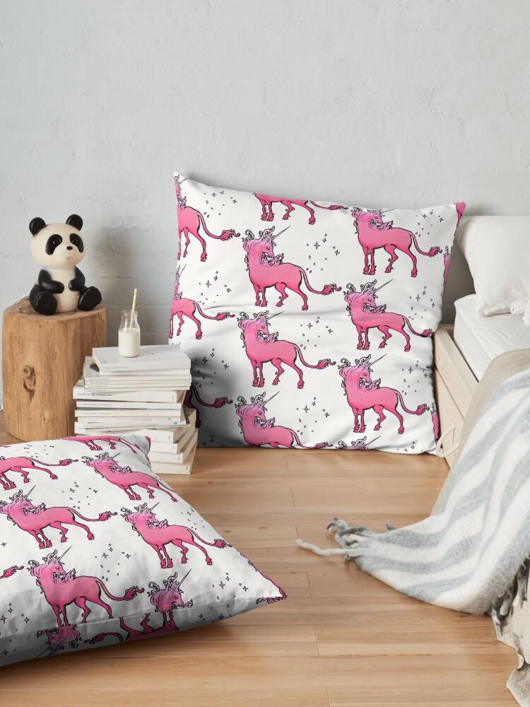 Alternate view of pink gradient The Last Unicorn Floor Pillow