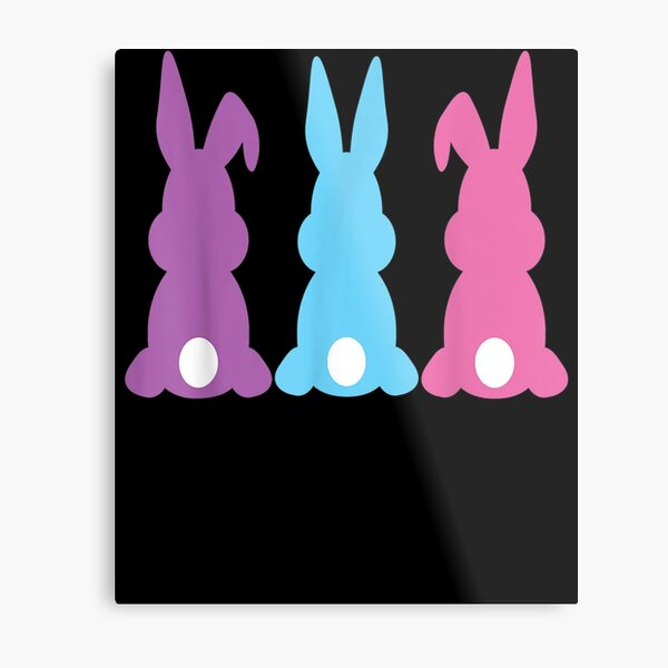 Pastel Bunnies 3 In A Row For Easter  Metal Print