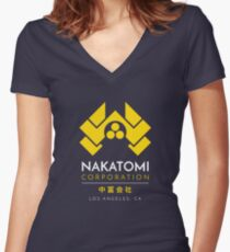 Nakatomi Corporation T-Shirt Women's Fitted V-Neck T-Shirt
