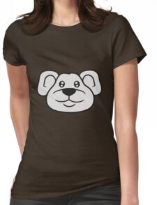 polar bear face head cute little teddy thick sweet cuddly comic cartoon Womens Fitted T-Shirt