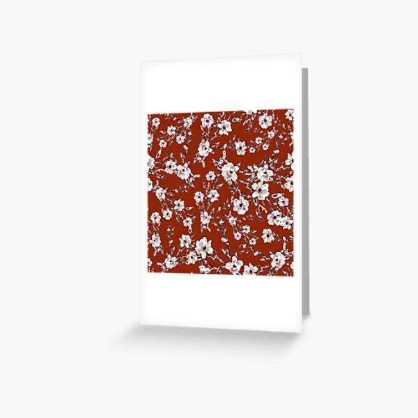 Bloom floral printanier Magnolia Fond ocre Carte de vœux